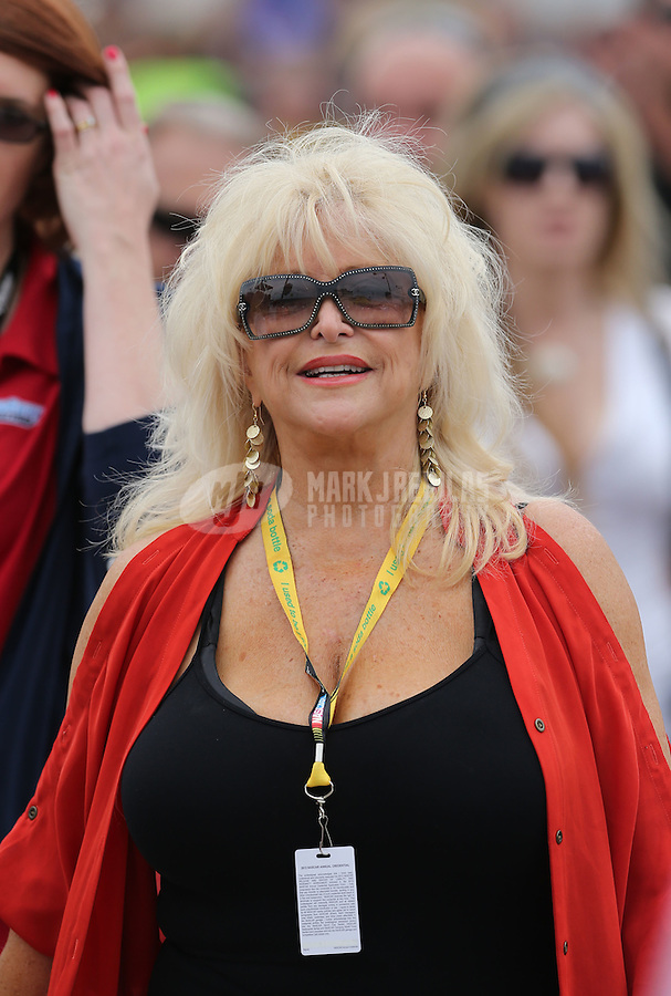 Mar. 3, 2013; Avondale, AZ, USA; Linda Vaughn in attendance of the NASCAR Sprint Cup Series race, the Subway Fresh Fit 500 at Phoenix International Raceway. Mandatory Credit: Mark J. Rebilas-