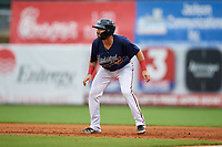 Mississippi Braves Alejandro Salazar (48) leads off first base during a Southern League game against the Jacksonville Jumbo Shrimp on May 4, 2019 at Trustmark Park in Pearl, Mississippi.  Mississippi defeated Jacksonville 2-0.  (Mike Janes/Four Seam Images)