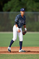Kristian Campbell (32) during the WWBA World Championship at the Roger Dean Complex on October 11, 2019 in Jupiter, Florida.  Kristian Campbell attends Walton High School in Marietta, GA and is committed to Georgia Tech.  (Mike Janes/Four Seam Images)
