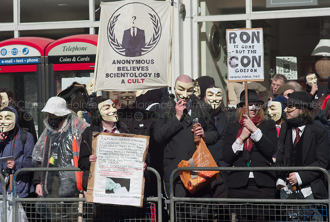 The group Anonymous protests against the Church of Scientology held on April 12, 2008 across from the Dianetics & Scientology Life Improvement Centre on Tottenham Court Road, Camden, London, UK.