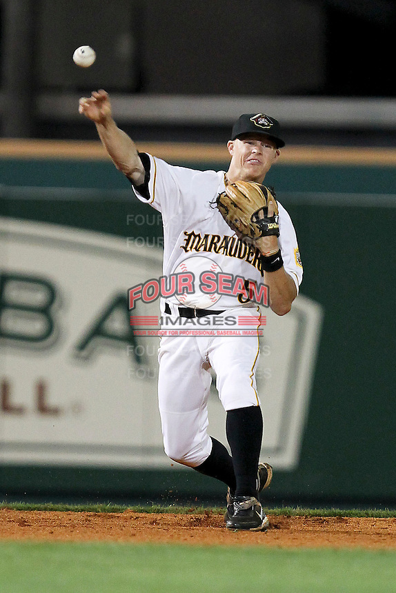 April 21, 2010 Infielder Brock Holt of the Bradenton Marauders, Florida State League Class-A affiliate of the Pittsburgh Pirates, during a game at McKenhnie Field in Bradenton Fl. Photo by: Mark LoMoglio/Four Seam Images