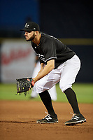 Quad Cities River Bandits first baseman Spencer Johnson (18) during a game against the Lake County Captains on May 6, 2017 at Modern Woodmen Park in Davenport, Iowa.  Lake County defeated Quad Cities 13-3.  (Mike Janes/Four Seam Images)