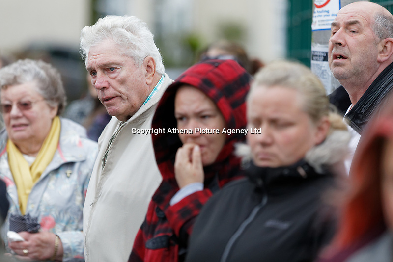 Pictured: Graham John, Bradley's grandfather outside St John Lloyd School, in Llanelli, Carmarthenshire, UK. Thursday 12 September 2019<br /> Re: The family of a bullied pupil were joined by friends and held a minute's silence, a year after he hanged himself in school toilets.<br /> His heartbroken father Byron John claims his son Bradley, 14, would still be alive if the school had acted to stop the bullies.<br /> Bradley's 13-year-old sister Danielle found him dead in the toilet block at, an hour after going missing at St John Lloyd Roman Catholic School in Llanelli, South Wales, UK.