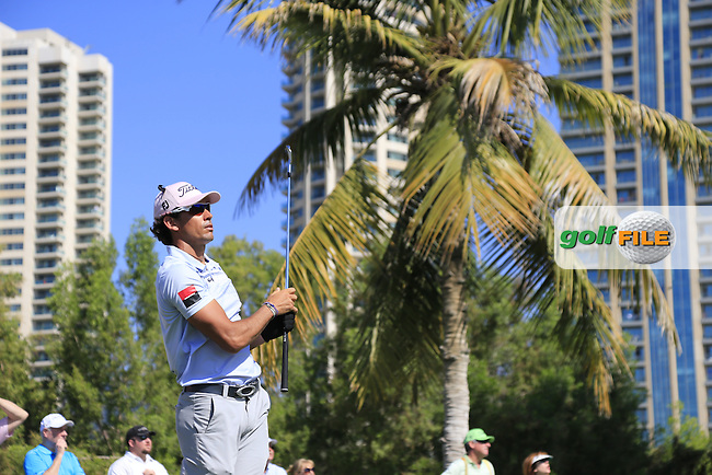 Rafa CABRERA-BELLO (ESP) tees off the par3 4th tee during Pink Friday's Round 2 of the 2015 Omega Dubai Desert Classic held at the Emirates Golf Club, Dubai, UAE.: Picture Eoin Clarke, www.golffile.ie: 1/30/2015
