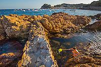 Spain, Costa Brava, Catalonia, Tossa de Mar. Beaches and ocean.