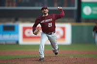 Saint Joseph's Hawks starting pitcher Lucas Rollins (29) in action against the Western Carolina Catamounts at TicketReturn.com Field at Pelicans Ballpark on February 23, 2020 in Myrtle Beach, South Carolina. The Hawks defeated the Catamounts 9-2. (Brian Westerholt/Four Seam Images)