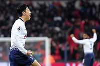Son Heung-Min of Tottenham Hotspur celebrates his goal during the Premier League match between Tottenham Hotspur and Watford at Wembley Stadium, London, England on 30 January 2019. Photo by Adamo Di Loreto.<br /> <br /> Editorial use only, license required for commercial use. No use in betting, games or a single club/league/player publications.