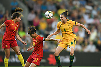 22 November 2017, Melbourne - CHLOE LOGARZO (6) of Australia heads the ball during an international friendly match between the Australian Matildas and China PR at AAMI Stadium in Melbourne, Australia.. Australia won 5-1. Photo Sydney Low