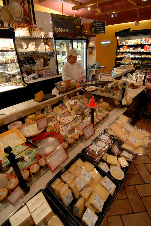 DiBruno Brothers cheese and gourmet food shop.  Cheeses on display. .Philadelphia, Pennsylvania, PA USA.  Photo copyright Lee Foster, 510-549-2202, lee@fostertravel.com, www.fostertravel.com.  Photo 322-30675