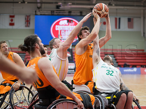 03.07.2016. Leicester Sports Arena, Leicester, England. Continental Clash Wheelchair Basketball Holland versus Australia. Joshua Allison (AUS) struggles to keep possession of the ball
