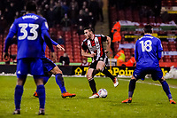 Sheffield United's defender Jack O'Connell (5) turns under pressure during the Sky Bet Championship match between Sheff United and Cardiff City at Bramall Lane, Sheffield, England on 2 April 2018. Photo by Stephen Buckley / PRiME Media Images.