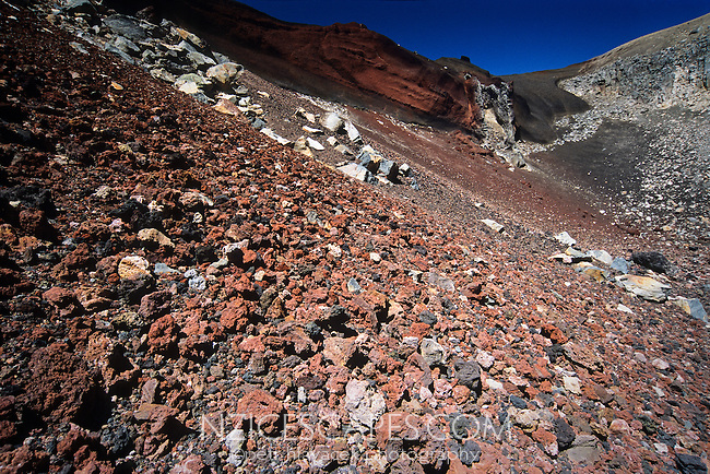 Rocks and pumice in the Red Crater - Tongariro National Park New Zealand