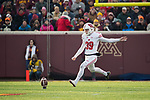 Wisconsin Badgers kicker Zach Hintze (39) kicks the ball during an NCAA College Big Ten Conference football game against the Minnesota Golden Gophers Saturday, November 25, 2017, in Minneapolis, Minnesota. The Badgers won 31-0. (Photo by David Stluka)