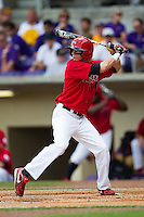 Stony Brook Seawolves outfielder Travis Jankowski #6 at bat during the NCAA Super Regional baseball game against LSU on June 9, 2012 at Alex Box Stadium in Baton Rouge, Louisiana. Stony Brook defeated LSU 3-1. (Andrew Woolley/Four Seam Images)