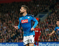 Dries Mertens of Napoli celebrates scoring the first goal during the UEFA Champions League match at Anfield, Liverpool. Picture date: 27th November 2019. Picture credit should read: Andrew Yates/Sportimage PUBLICATIONxNOTxINxUK SPI-0331-0033<br /> Liverpool 27-11-2019 Anfield <br /> Football Uefa Champions League 2019/2020 <br /> Liverpool Vs Napoli <br /> Photo Imago/Insidefoto <br /> ITALY ONLY