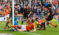 Blackpool's Chris Taylor and Armand Gnanduillet try to put the ball in the net in the first half<br /> <br /> Photographer Alex Dodd/CameraSport<br /> <br /> The EFL Sky Bet League One - Blackpool v Sunderland - Tuesday 1st January 2019 - Bloomfield Road - Blackpool<br /> <br /> World Copyright © 2019 CameraSport. All rights reserved. 43 Linden Ave. Countesthorpe. Leicester. England. LE8 5PG - Tel: +44 (0) 116 277 4147 - admin@camerasport.com - www.camerasport.com