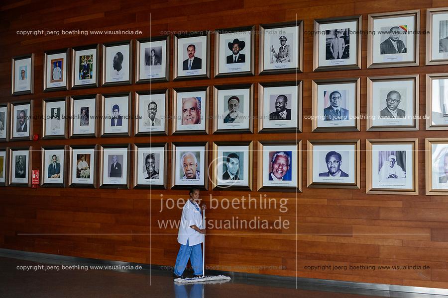 ETHIOPIA Addis Ababa, AU African Union building, wall with photos of african presidents and PM ie Nelson Mandela, Salvar Kiir Mayardit, Patrice Lumumba, Robert Mugabe / AETHIOPIEN, Addis Abeba, Gebaeude der AU Afrikanischen Union, Foyer mit Fotos afrikanischer Praesidenten und Premierminister