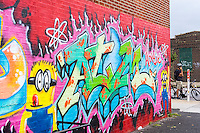 Graffiti style mural in the popular destination, the Williamsburg neighborhood of Brooklyn in New York on Sunday, August 3, 2014. © Richard B. Levine)