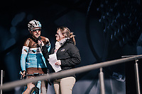 Tony Gallopin (FRA/AG2R-LaMondiale) interviewed on the start podium<br /> <br /> 76th Paris-Nice 2018<br /> stage 6: Sisteron &gt; Vence (198km)
