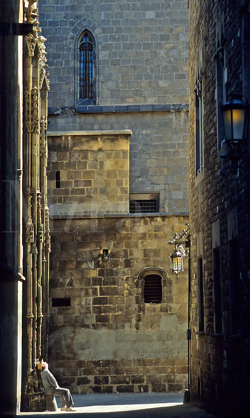 Spain. Barcelona. Barrio Gotico. Gothic Quarter. Near the Cathedral..