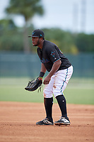 GCL Marlins first baseman Omar Lebron (30) during a Gulf Coast League game against the GCL Astros on August 8, 2019 at the Roger Dean Chevrolet Stadium Complex in Jupiter, Florida.  GCL Marlins defeated GCL Astros 5-4.  (Mike Janes/Four Seam Images)