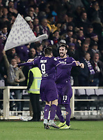 Calcio, Serie A: Fiorentina - Inter, stadio Artemio Franchi Firenze 5 gennaio 2018.<br /> Fiorentina's Giovanni Simeone (l) celebrates after scoring with his teammate Davide Astori (r) during the Italian Serie A football match between Fiorentina and Inter Milan at Florence's Artemio Franchi stadium, January 5 2018.<br /> UPDATE IMAGES PRESS/Isabella Bonotto