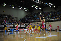 A general view of TSB Bank Arena during the ANZ Netball Championship match between the Central Pulse and Adelaide Thunderbirds at TSB Bank Arena, Wellington, New Zealand on Monday, 21 May 2012. Photo: Dave Lintott / lintottphoto.co.nz