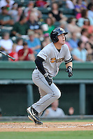 Billy Fleming (8) of the Charleston RiverDogs bats in a game against the Greenville Drive on Sunday, August 16, 2015, at Fluor Field at the West End in Greenville, South Carolina. Charleston won, 6-2. (Tom Priddy/Four Seam Images)
