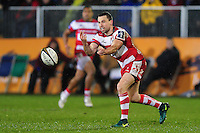 Tom Marshall of Gloucester Rugby passes the ball. Anglo-Welsh Cup match, between Bath Rugby and Gloucester Rugby on January 27, 2017 at the Recreation Ground in Bath, England. Photo by: Patrick Khachfe / Onside Images