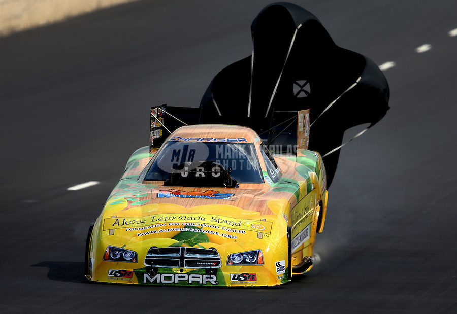 Jul. 20, 2013; Morrison, CO, USA: NHRA funny car driver Johnny Gray during qualifying for the Mile High Nationals at Bandimere Speedway. Mandatory Credit: Mark J. Rebilas-