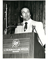 Le joeur de baseball Gary Carter<br /> des  expos de Montreal, le 12 fevrier 1982, au<br /> Bonaventure-Westin<br /> <br /> <br /> PHOTO :  Agence Quebec Presse