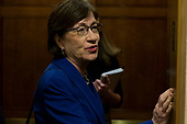 United States Senator Susan Collins (Republican of Maine) speaks with reporters in the Senate Subway about a possible government shutdown held at the United States Capitol Building in Washington, D.C. on January 19th, 2018. <br /> Credit: Alex Edelman / CNP