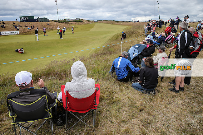 View of the 14th green where a good crowd has gathered during Round Two of the 2016 Aberdeen Asset Management Scottish Open, played at Castle Stuart Golf Club, Inverness, Scotland. 08/07/2016. Picture: David Lloyd | Golffile.<br /> <br /> All photos usage must carry mandatory copyright credit (&copy; Golffile | David Lloyd)