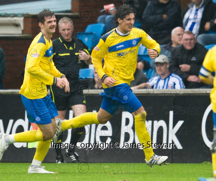ST JOHNSTONE'S FRANCISCO SANDAZA CELEBRATES AFTER HE SCORES ST JOHNSTONE'S FIRST