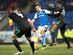 St Johnstone v Hibs&hellip;16.03.18&hellip;  McDiarmid Park    SPFL<br />Steven MacLean battles with Efe Ambrose<br />Picture by Graeme Hart. <br />Copyright Perthshire Picture Agency<br />Tel: 01738 623350  Mobile: 07990 594431