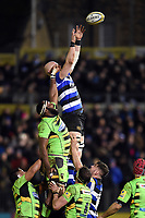 Matt Garvey of Bath Rugby rises high to win lineout ball. Aviva Premiership match, between Bath Rugby and Northampton Saints on February 9, 2018 at the Recreation Ground in Bath, England. Photo by: Patrick Khachfe / Onside Images