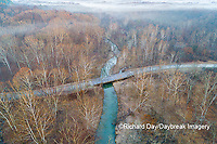 63895-17005 Road & bridge at sunrise Stephen A. Forbes State Park-aerial-Marion Co. IL