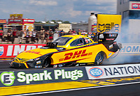 Jul 11, 2020; Clermont, Indiana, USA; NHRA funny car driver J.R. Todd during qualifying for the E3 Spark Plugs Nationals at Lucas Oil Raceway. This is the first race back for NHRA since the start of the COVID-19 global pandemic. Mandatory Credit: Mark J. Rebilas-USA TODAY Sports