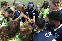 Cary, North Carolina  - Saturday July 01, 2017: NC Courage players huddle prior to a regular season National Women's Soccer League (NWSL) match between the North Carolina Courage and the Sky Blue FC at Sahlen's Stadium at WakeMed Soccer Park. Sky Blue FC won the game 1-0.