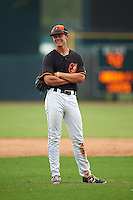 GCL Orioles shortstop Ryan Mountcastle (43) during the second game of a doubleheader against the GCL Rays on August 1, 2015 at the Ed Smith Stadium in Sarasota, Florida.  GCL Orioles defeated the GCL Rays 11-4.  (Mike Janes/Four Seam Images)