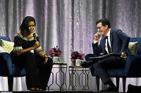 LONDON, ENGLAND - APRIL 14:  'Becoming: An Intimate Conversation' with Michelle Obama at O2 Arena on April 14, 2019 in London, England.<br /> CAP/MAR<br /> ©MAR/Capital Pictures