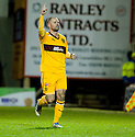 MICHAEL HIGDON CELEBRATES AFTER HE SCORES MOTHERWELL'S FIRST GOAL