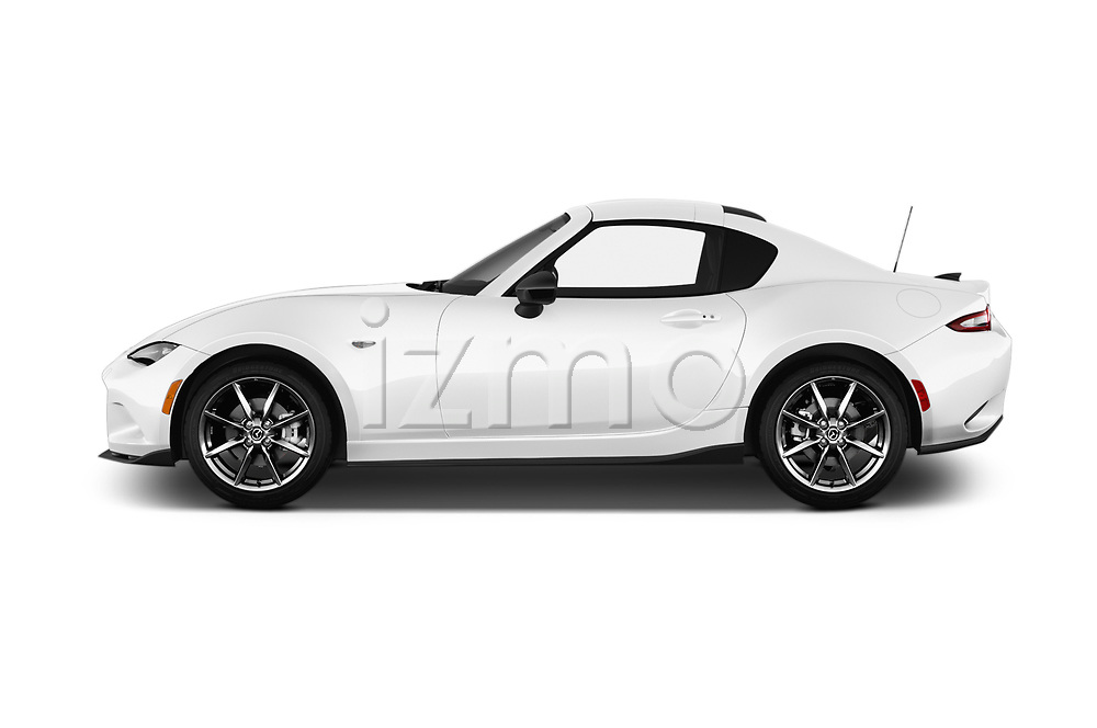 Car driver side profile view of a 2019 Mazda MX-5 RF Club 2 Door Convertible