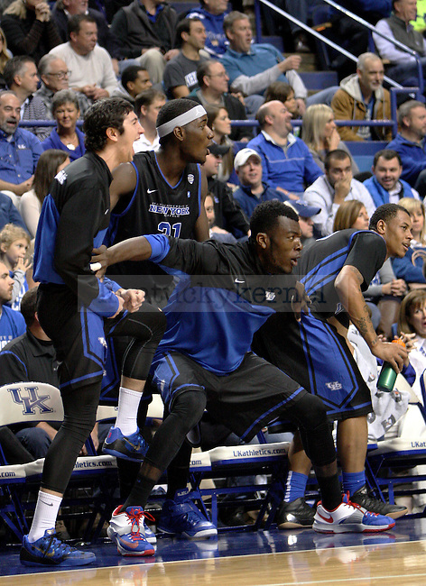 The Buffalo bench cheers during the first half of the University of Kentucky vs. State University of New York at Buffalo men's basketball game at Rupp Arena in Lexington, Ky., on Sunday, November 16, 2014. Buffalo led at the half and UK won 71-52.  Photo by Tessa Lighty | Staff