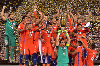 East Rutherford, NJ - Sunday June 26, 2016: Chile celebrates, Claudio Bravo after a Copa America Centenario finals match between Argentina (ARG) and Chile (CHI) at MetLife Stadium.