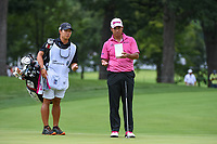Hideki Matsuyama (JPN) looks over his long birdie putt on 3 during Rd3 of the 2019 BMW Championship, Medinah Golf Club, Chicago, Illinois, USA. 8/17/2019.<br /> Picture Ken Murray / Golffile.ie<br /> <br /> All photo usage must carry mandatory copyright credit (© Golffile   Ken Murray)
