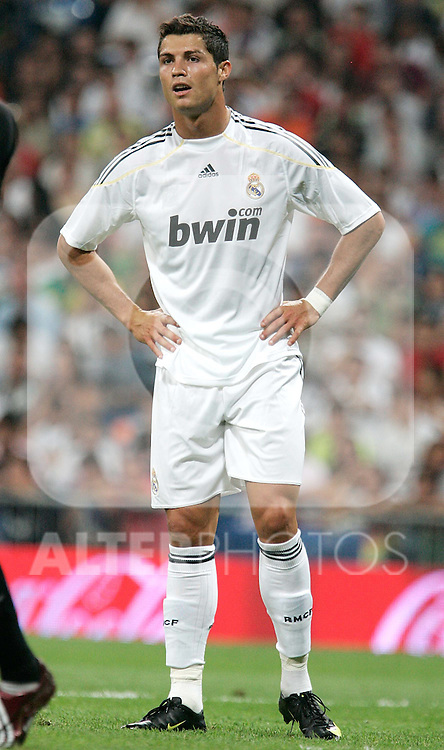 Real Madrid's Cristiano Ronaldo reacts during a friendly match, July 28, 2009. (ALTERPHOTOS/Alvaro Hernandez).