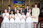 Abbeydorney NS pupils who made their First Holy Communion on Saturday in St Berenard's Church, Abbeydorney. Front l-r; Chloe Gleeson, Leah Thomas, Rebecca O'Sullivan, Ellen Fitzmaurice, Charlotte Harte and Norma Shanahan (teacher). Back l-r: Louise Ryall, Ted Maunsell, Darragh O'Connell and Breannda?n Walsh...
