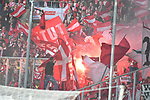 04.11.2018, Borussia Park , Moenchengladbach, GER, 1. FBL,  Borussia Moenchengladbach vs. Fortuna Duesseldorf,<br />  <br /> DFL regulations prohibit any use of photographs as image sequences and/or quasi-video<br /> <br /> im Bild / picture shows: <br /> Pyrotechnik, Feuerwerk, Rauch, Gefahr, Feuer, Leuchtfeuer, Kurzve    duesseldorfer<br /> <br /> Foto &copy; nordphoto / Meuter
