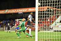Omar Bogle of Grimsby Town scores their second goal during the Vanarama National League match between Aldershot Town and Grimsby Town at the EBB Stadium, Aldershot, England on 5 April 2016. Photo by Paul Paxford / PRiME Media Images.